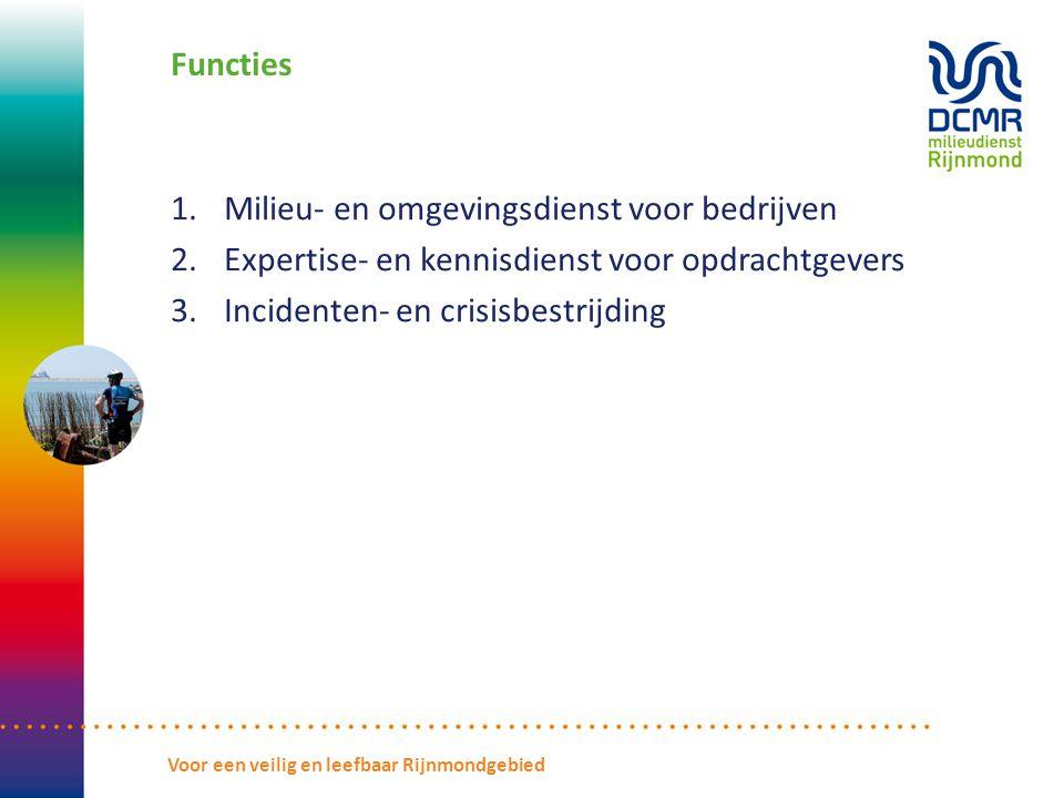 Functies 1.Milieu- en omgevingsdienst voor bedrijven 2.Expertise- en kennisdienst voor opdrachtgevers 3.Incidenten- en crisisbestrijding Voor een veilig en leefbaar Rijnmondgebied