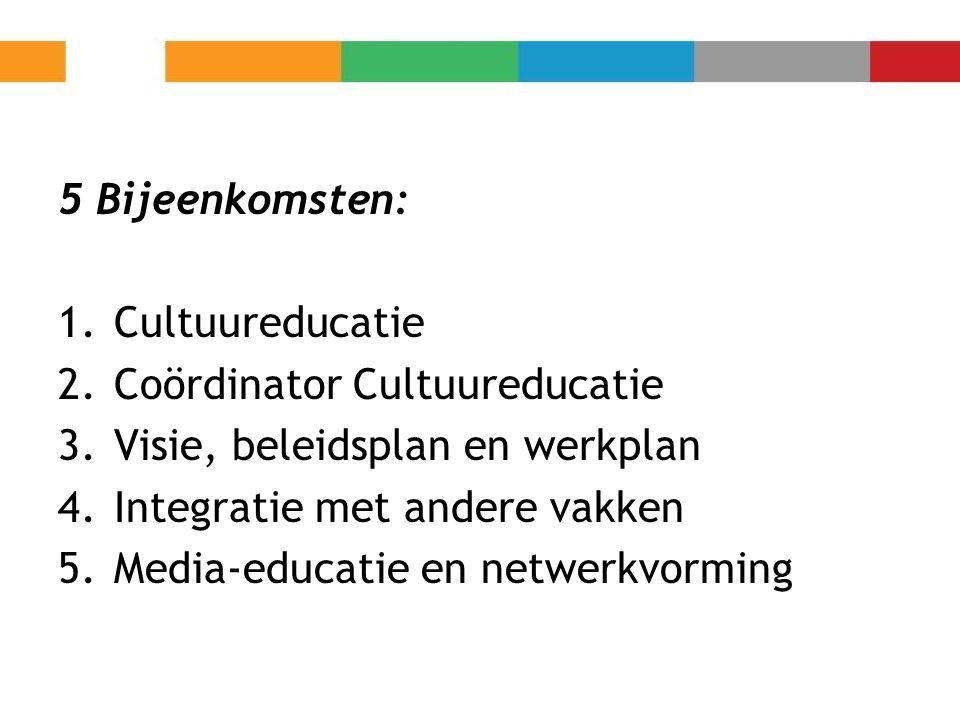 5 Bijeenkomsten: 1.Cultuureducatie 2.Coördinator Cultuureducatie 3.Visie, beleidsplan en werkplan 4.Integratie met andere vakken 5.Media-educatie en n