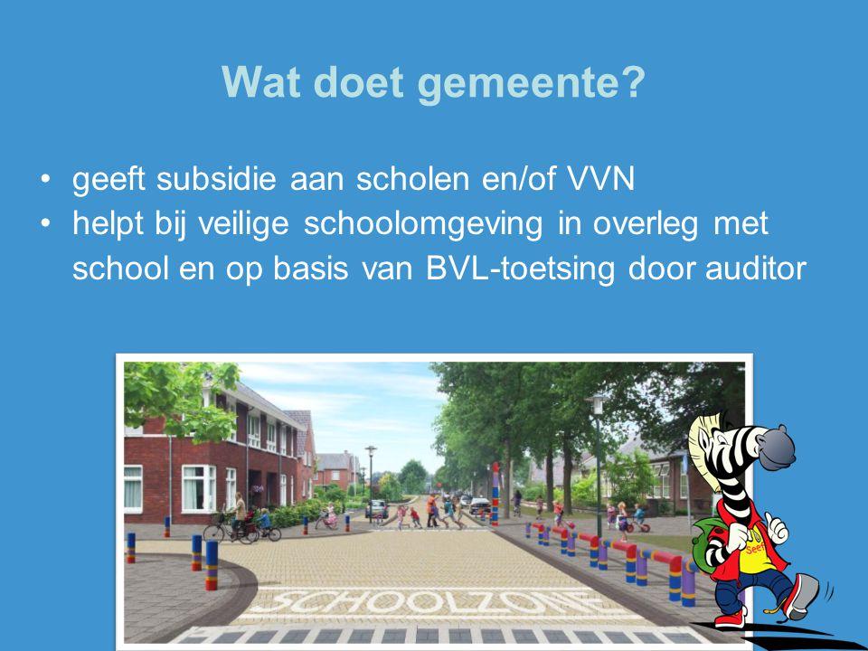 Wat doet gemeente? geeft subsidie aan scholen en/of VVN helpt bij veilige schoolomgeving in overleg met school en op basis van BVL-toetsing door audit