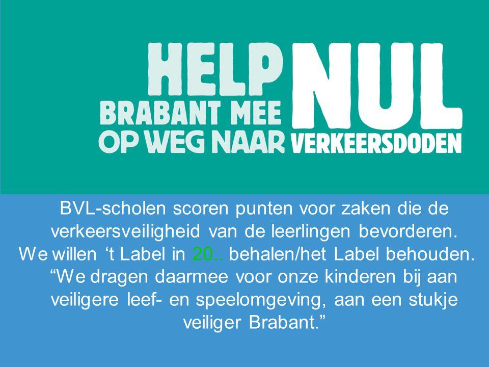 """BVL-scholen scoren punten voor zaken die de verkeersveiligheid van de leerlingen bevorderen. We willen 't Label in 20.. behalen/het Label behouden. """"W"""