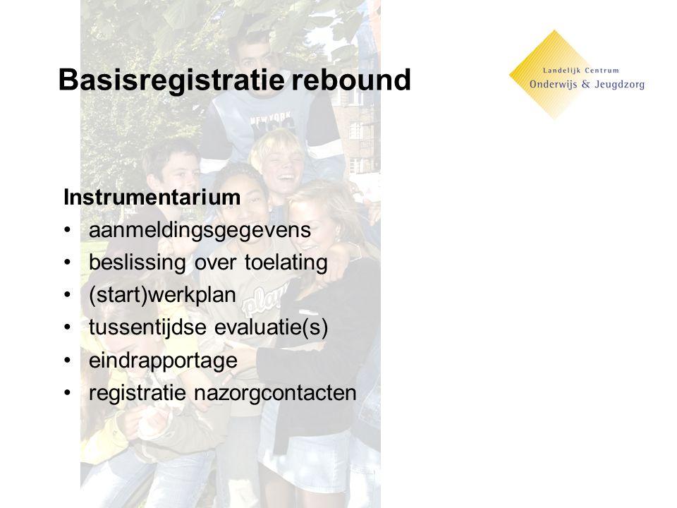 Basisregistratie rebound Instrumentarium aanmeldingsgegevens beslissing over toelating (start)werkplan tussentijdse evaluatie(s) eindrapportage registratie nazorgcontacten