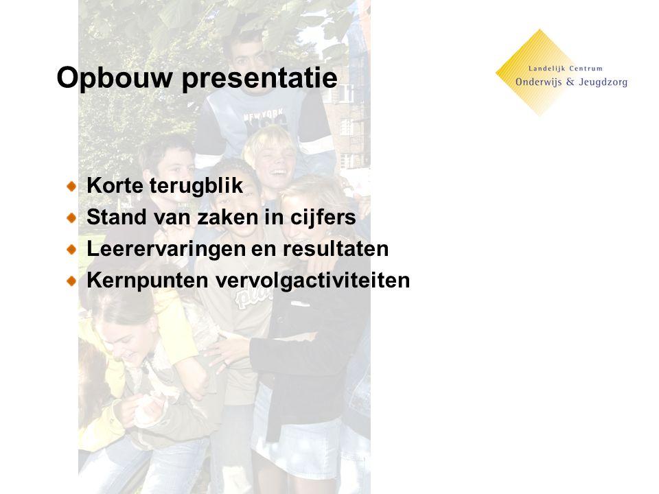 Opbouw presentatie Korte terugblik Stand van zaken in cijfers Leerervaringen en resultaten Kernpunten vervolgactiviteiten
