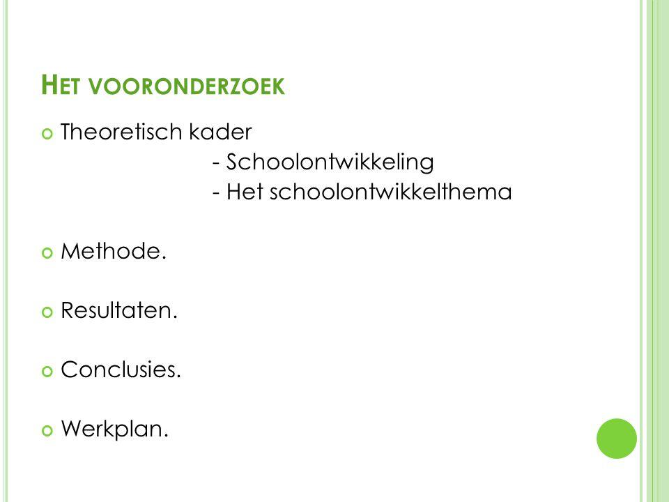 H ET VOORONDERZOEK Theoretisch kader - Schoolontwikkeling - Het schoolontwikkelthema Methode.
