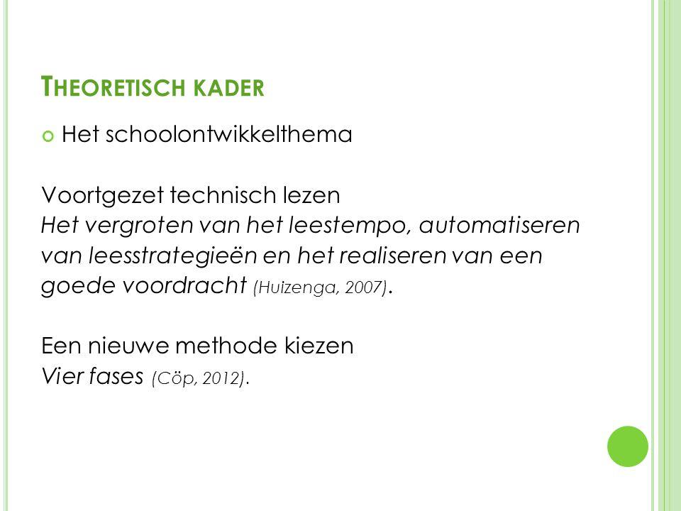 T HEORETISCH KADER Het schoolontwikkelthema Voortgezet technisch lezen Het vergroten van het leestempo, automatiseren van leesstrategieën en het realiseren van een goede voordracht (Huizenga, 2007).