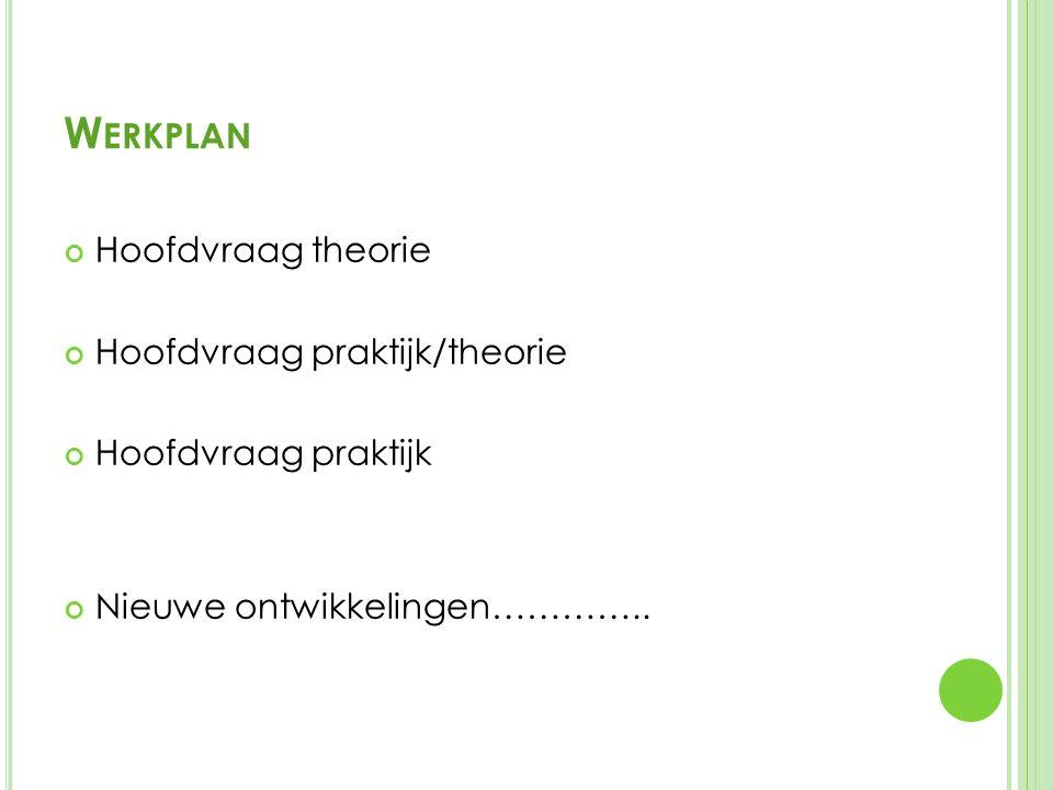 W ERKPLAN Hoofdvraag theorie Hoofdvraag praktijk/theorie Hoofdvraag praktijk Nieuwe ontwikkelingen…………..