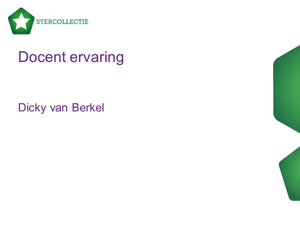 Docent ervaring Dicky van Berkel
