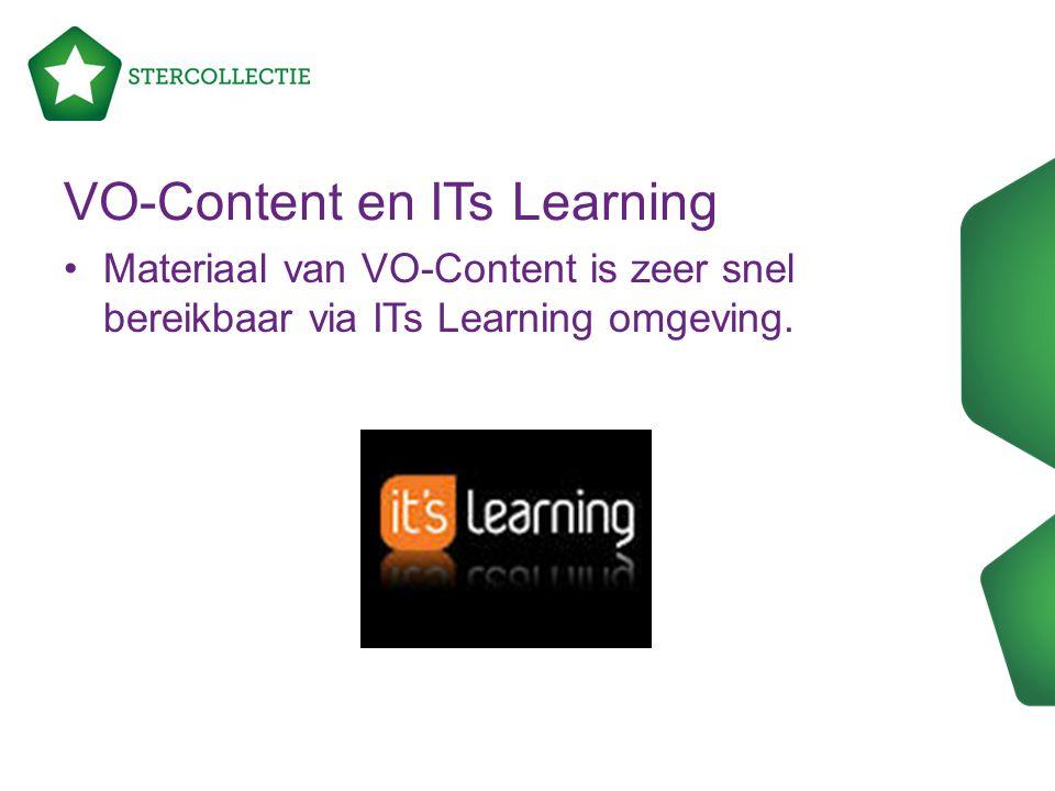 Materiaal van VO-Content is zeer snel bereikbaar via ITs Learning omgeving. VO-Content en ITs Learning