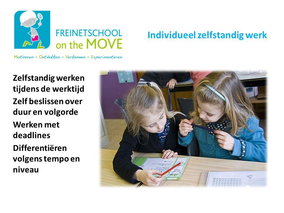 Zelfstandig werken tijdens de werktijd Zelf beslissen over duur en volgorde Werken met deadlines Differentiëren volgens tempo en niveau Onze schoolwer