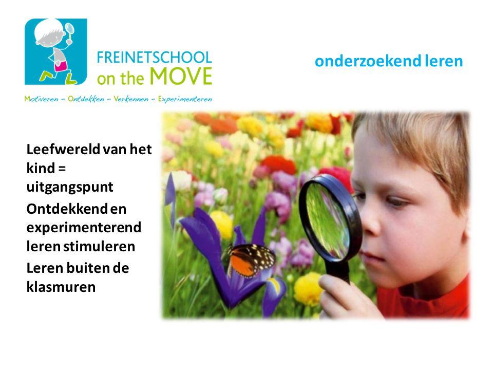 Leefwereld van het kind = uitgangspunt Ontdekkend en experimenterend leren stimuleren Leren buiten de klasmuren Onze schoolwerking onderzoekend leren