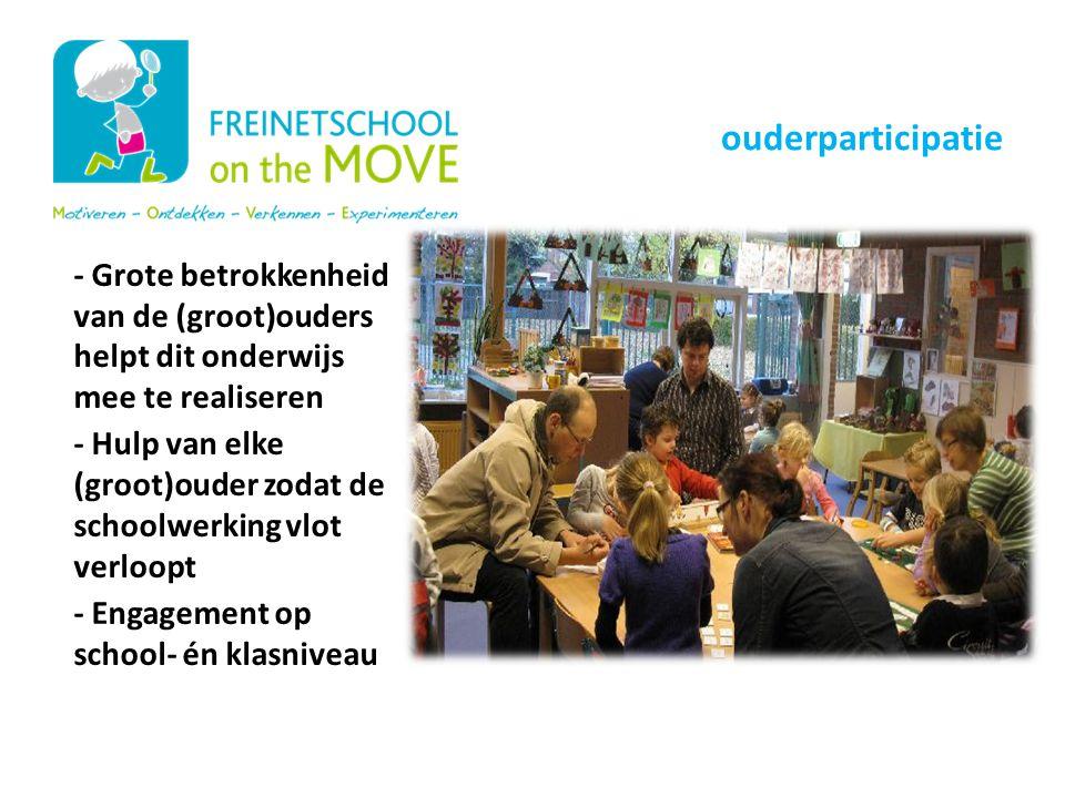 - Grote betrokkenheid van de (groot)ouders helpt dit onderwijs mee te realiseren - Hulp van elke (groot)ouder zodat de schoolwerking vlot verloopt - E