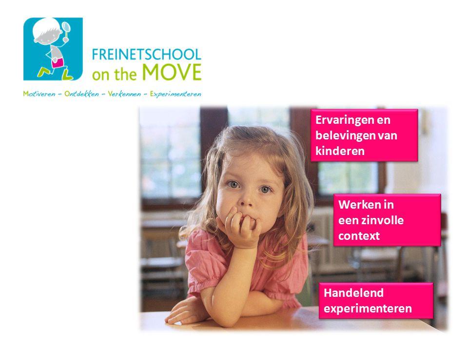 Ervaringen en belevingen van kinderen Werken in een zinvolle context Werken in een zinvolle context Handelend experimenteren Handelend experimenteren