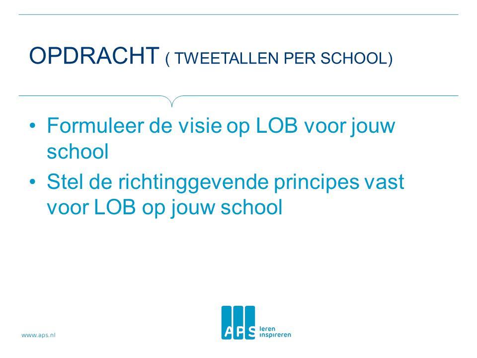 OPDRACHT ( TWEETALLEN PER SCHOOL) Formuleer de visie op LOB voor jouw school Stel de richtinggevende principes vast voor LOB op jouw school