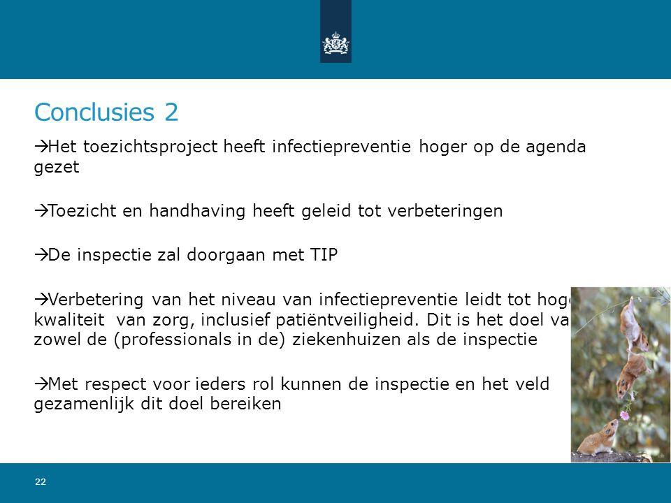 Conclusies 2  Het toezichtsproject heeft infectiepreventie hoger op de agenda gezet  Toezicht en handhaving heeft geleid tot verbeteringen  De inspectie zal doorgaan met TIP  Verbetering van het niveau van infectiepreventie leidt tot hogere kwaliteit van zorg, inclusief patiëntveiligheid.