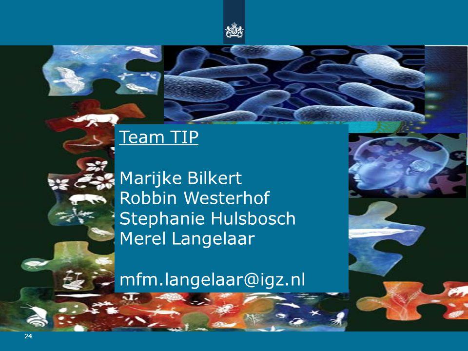 24 Team TIP Marijke Bilkert Robbin Westerhof Stephanie Hulsbosch Merel Langelaar mfm.langelaar@igz.nl