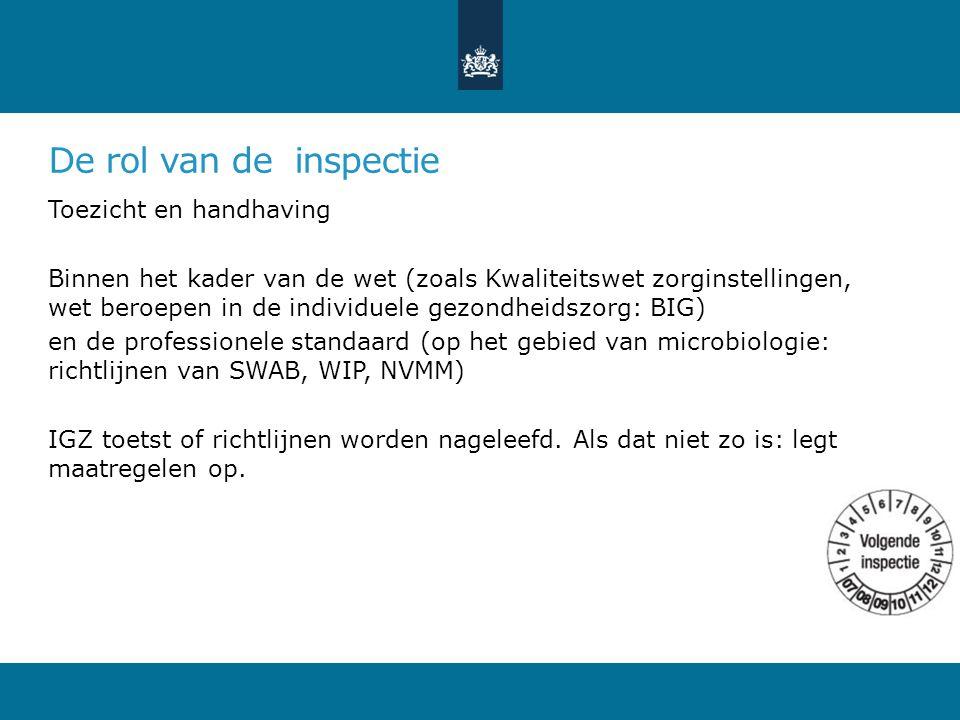 De rol van de inspectie Toezicht en handhaving Binnen het kader van de wet (zoals Kwaliteitswet zorginstellingen, wet beroepen in de individuele gezondheidszorg: BIG) en de professionele standaard (op het gebied van microbiologie: richtlijnen van SWAB, WIP, NVMM) IGZ toetst of richtlijnen worden nageleefd.