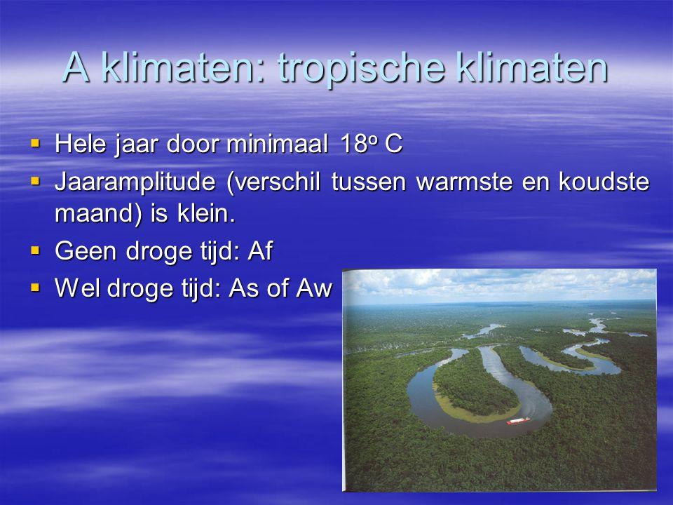 A klimaten: tropische klimaten  Hele jaar door minimaal 18 o C  Jaaramplitude (verschil tussen warmste en koudste maand) is klein.  Geen droge tijd