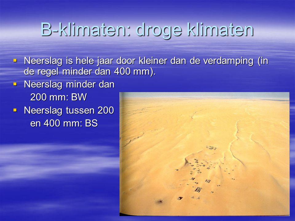 B-klimaten: droge klimaten  Neerslag is hele jaar door kleiner dan de verdamping (in de regel minder dan 400 mm).  Neerslag minder dan 200 mm: BW 20
