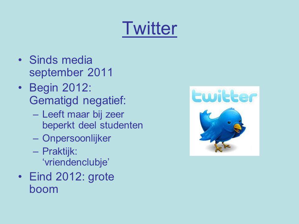 Twitter Sinds media september 2011 Begin 2012: Gematigd negatief: –Leeft maar bij zeer beperkt deel studenten –Onpersoonlijker –Praktijk: 'vriendenclubje' Eind 2012: grote boom