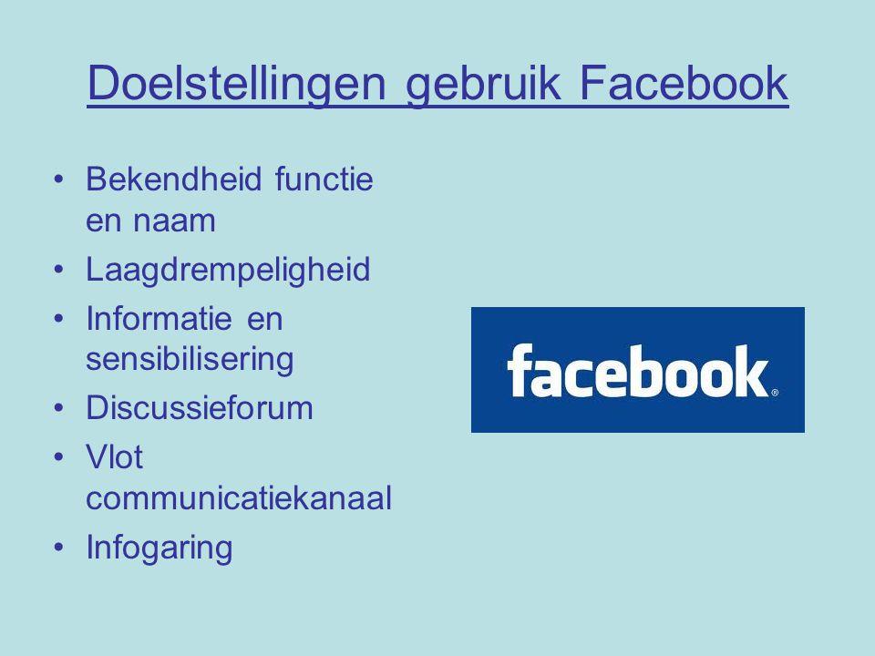 Doelstellingen gebruik Facebook Bekendheid functie en naam Laagdrempeligheid Informatie en sensibilisering Discussieforum Vlot communicatiekanaal Infogaring