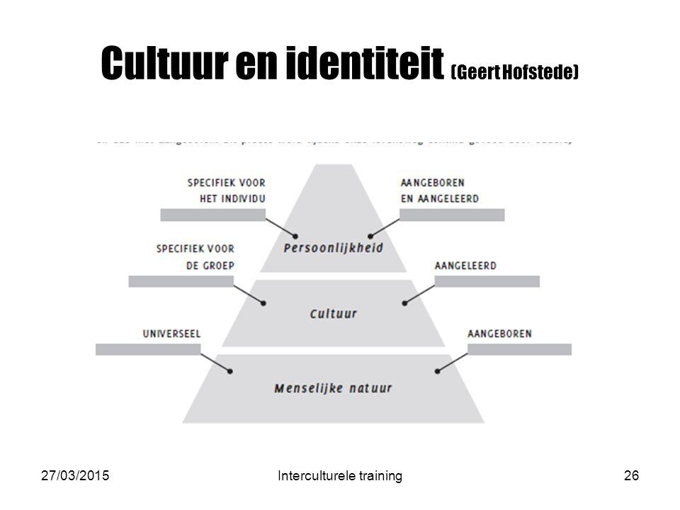 Cultuur en identiteit (Geert Hofstede) 27/03/2015Interculturele training26