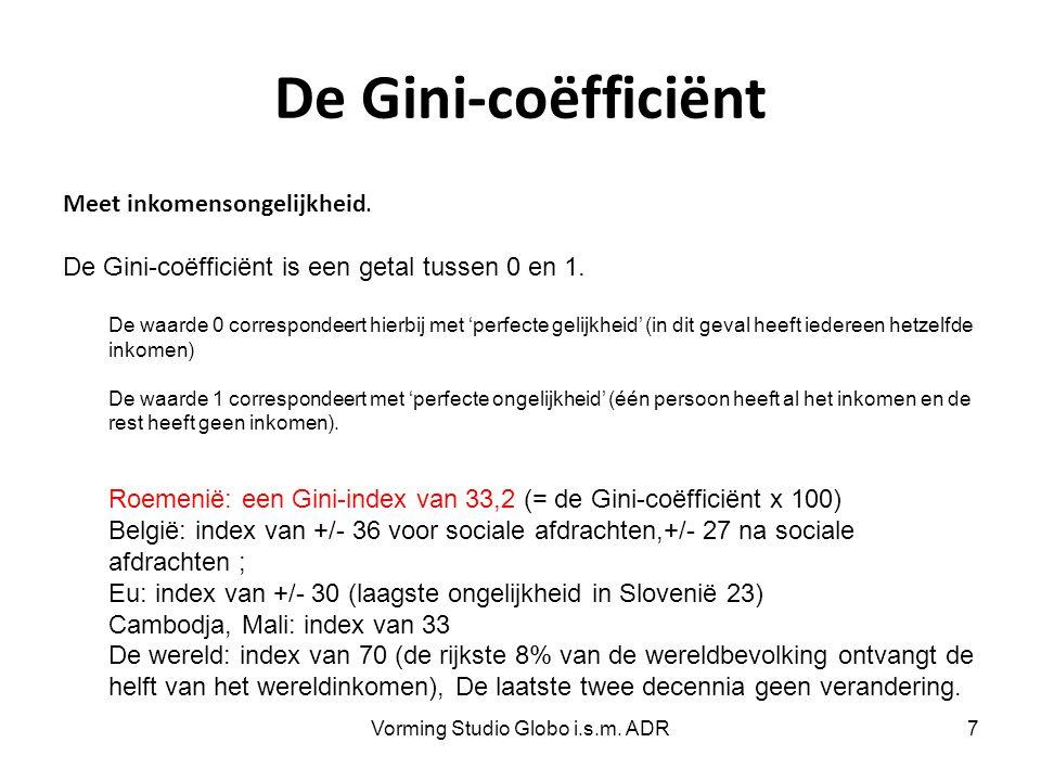 De Gini-coëfficiënt Meet inkomensongelijkheid. De Gini-coëfficiënt is een getal tussen 0 en 1. De waarde 0 correspondeert hierbij met 'perfecte gelijk