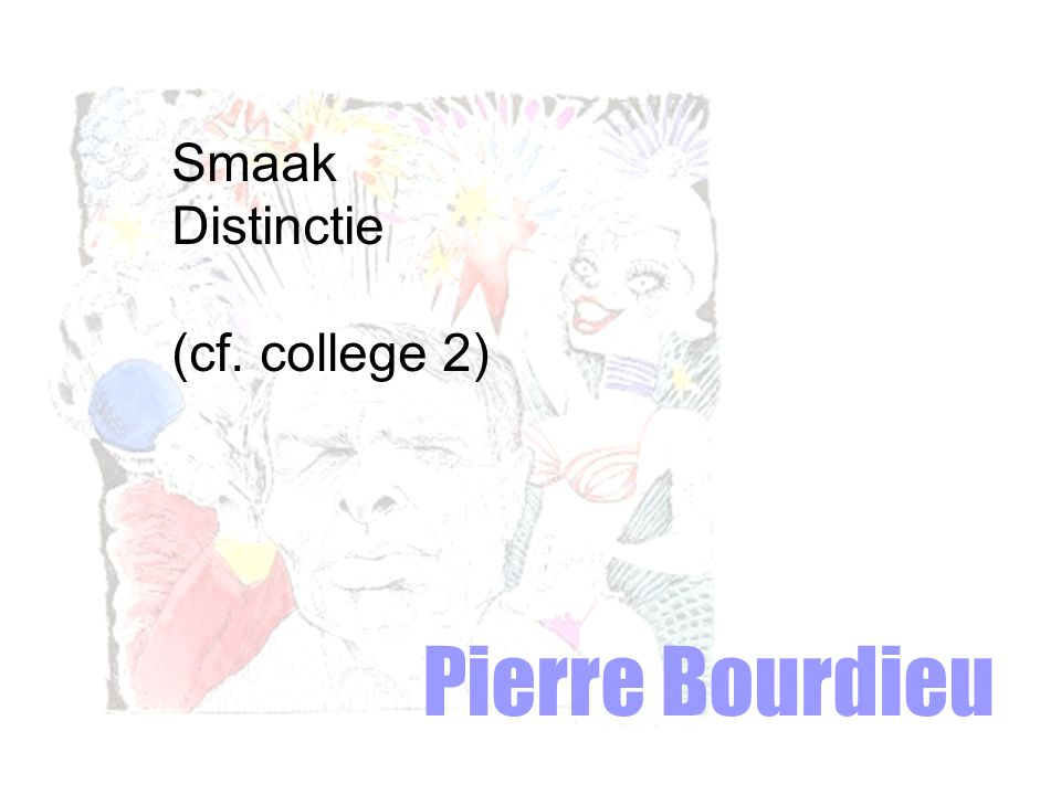 Pierre Bourdieu Smaak Distinctie (cf. college 2)