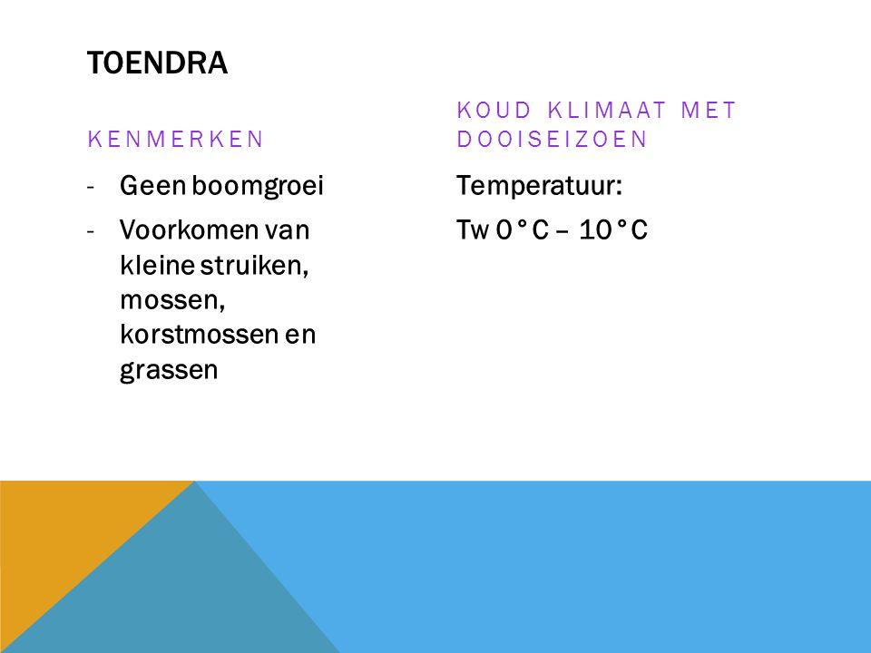 TOENDRA KENMERKEN -Geen boomgroei -Voorkomen van kleine struiken, mossen, korstmossen en grassen KOUD KLIMAAT MET DOOISEIZOEN Temperatuur: Tw 0°C – 10
