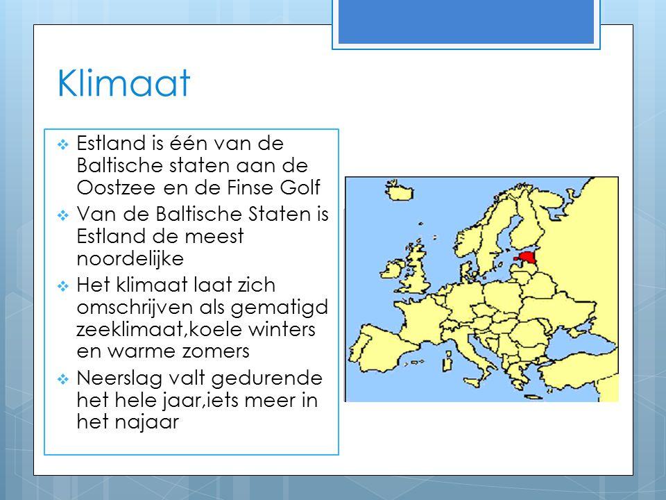 Klimaat  Estland is één van de Baltische staten aan de Oostzee en de Finse Golf  Van de Baltische Staten is Estland de meest noordelijke  Het klimaat laat zich omschrijven als gematigd zeeklimaat,koele winters en warme zomers  Neerslag valt gedurende het hele jaar,iets meer in het najaar
