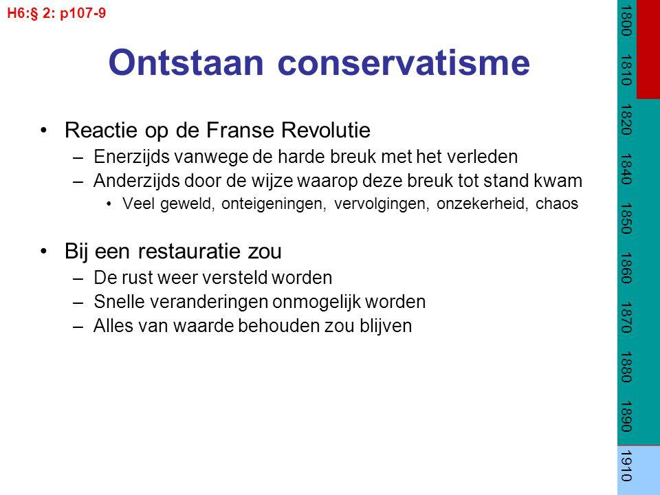Ontstaan conservatisme Reactie op de Franse Revolutie –Enerzijds vanwege de harde breuk met het verleden –Anderzijds door de wijze waarop deze breuk t