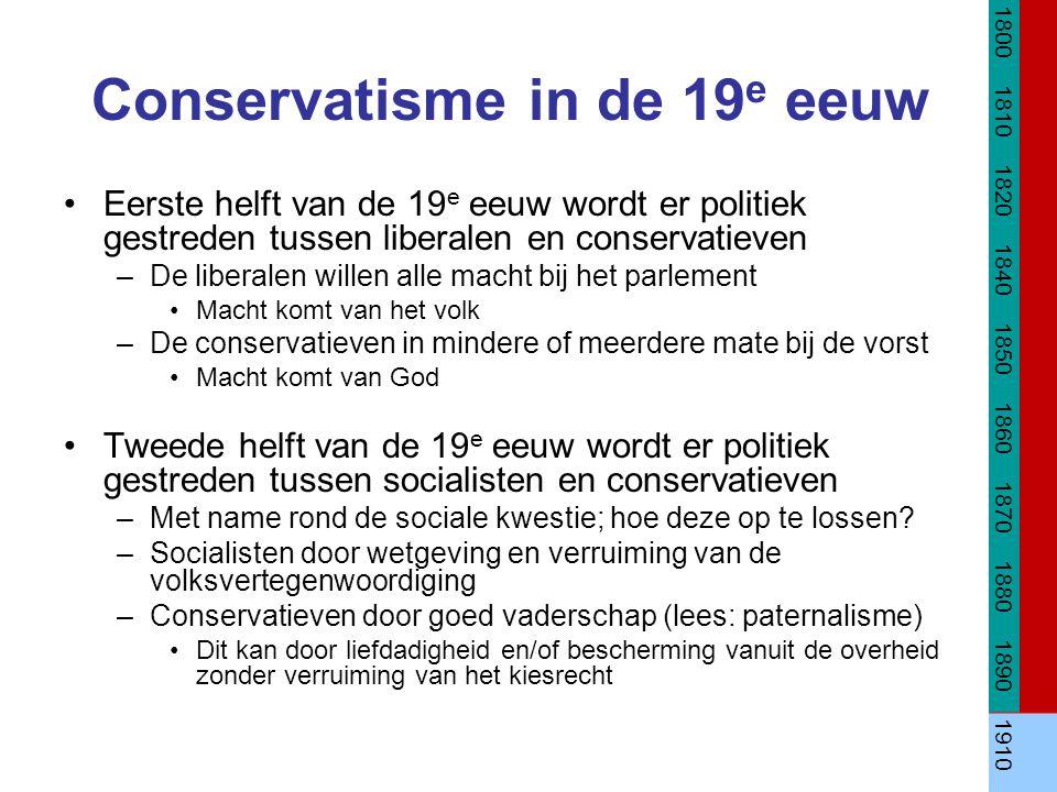 Conservatisme in de 19 e eeuw Eerste helft van de 19 e eeuw wordt er politiek gestreden tussen liberalen en conservatieven –De liberalen willen alle m