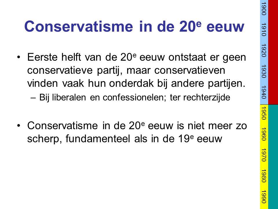 Conservatisme in de 20 e eeuw Eerste helft van de 20 e eeuw ontstaat er geen conservatieve partij, maar conservatieven vinden vaak hun onderdak bij an
