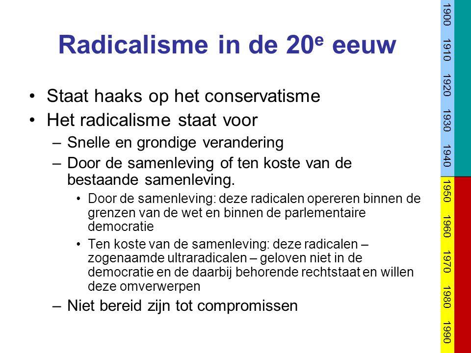 Radicalisme in de 20 e eeuw Staat haaks op het conservatisme Het radicalisme staat voor –Snelle en grondige verandering –Door de samenleving of ten ko