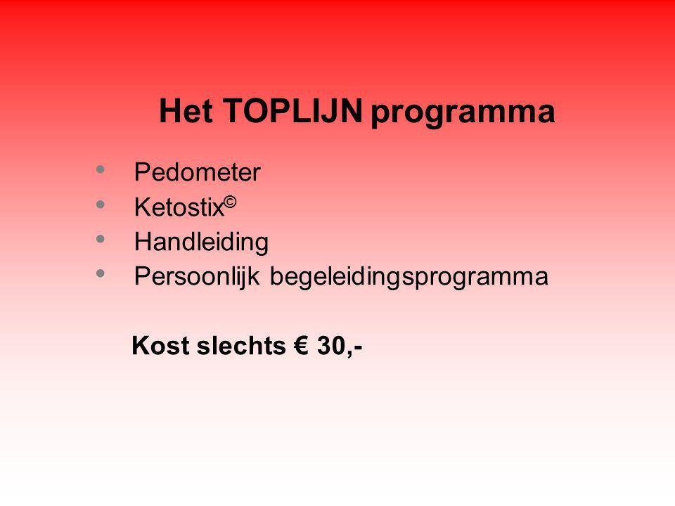 Het TOPLIJN programma Pedometer Ketostix © Handleiding Persoonlijk begeleidingsprogramma Kost slechts € 30,-