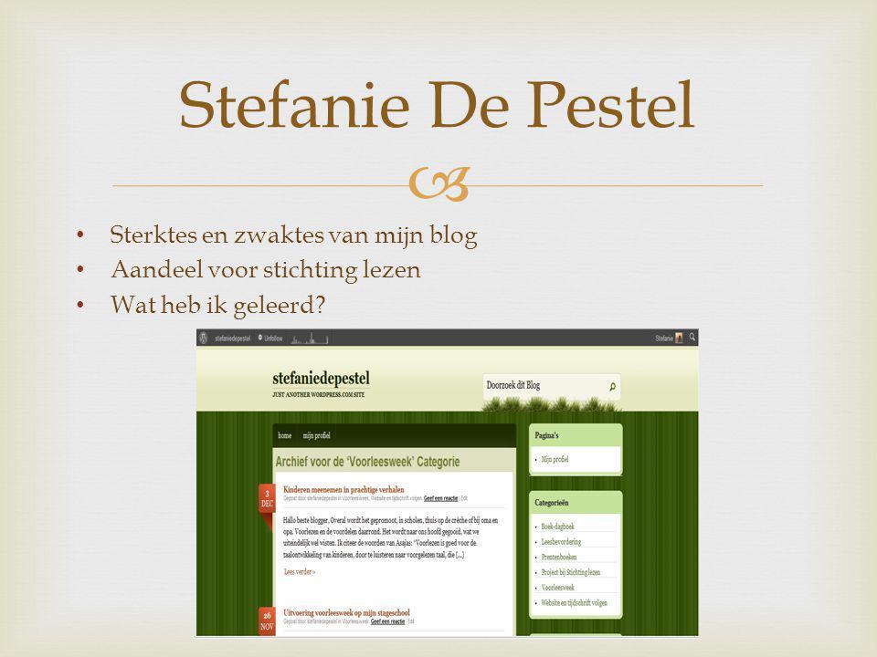  Sterktes en zwaktes van mijn blog Aandeel voor stichting lezen Wat heb ik geleerd.