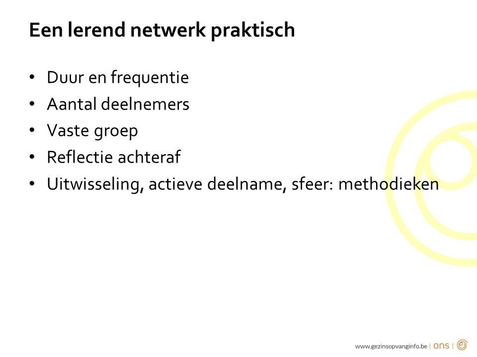 Een lerend netwerk praktisch Duur en frequentie Aantal deelnemers Vaste groep Reflectie achteraf Uitwisseling, actieve deelname, sfeer: methodieken