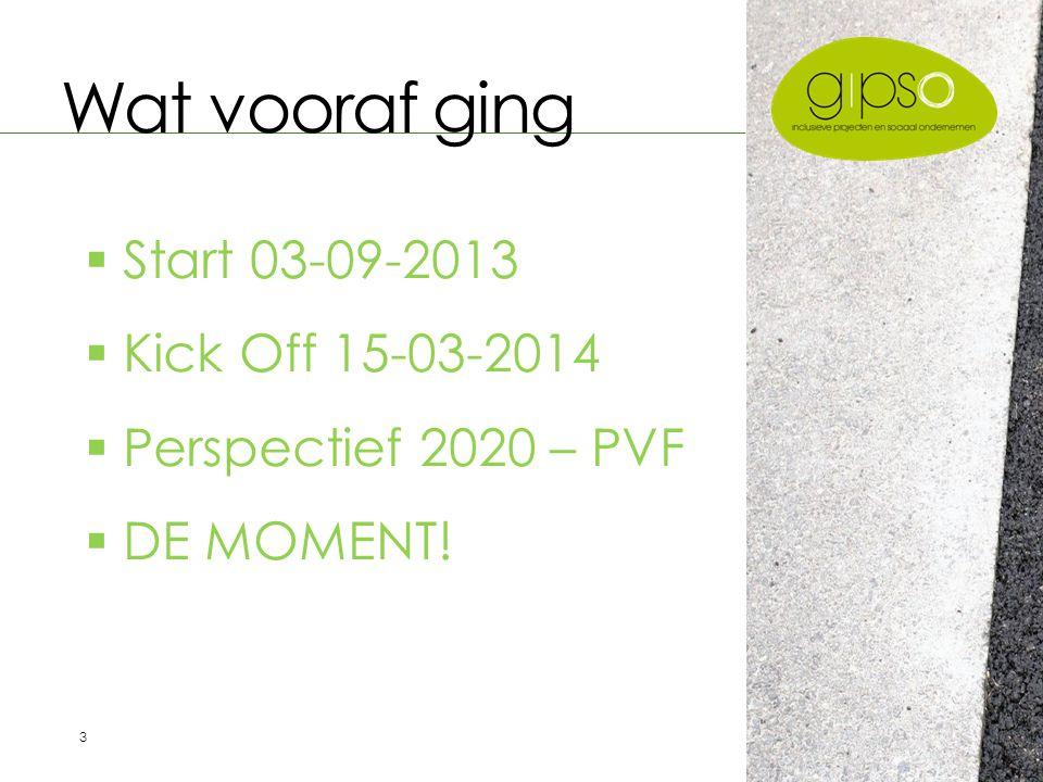 3 Wat vooraf ging  Start 03-09-2013  Kick Off 15-03-2014  Perspectief 2020 – PVF  DE MOMENT!
