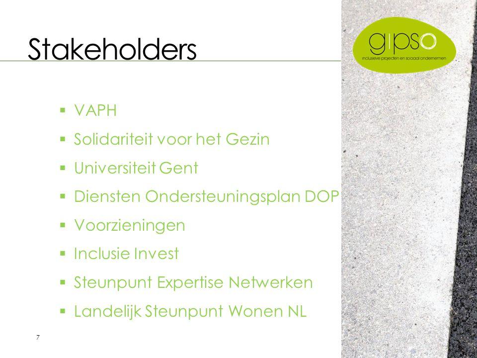 7 Stakeholders  VAPH  Solidariteit voor het Gezin  Universiteit Gent  Diensten Ondersteuningsplan DOP  Voorzieningen  Inclusie Invest  Steunpunt Expertise Netwerken  Landelijk Steunpunt Wonen NL