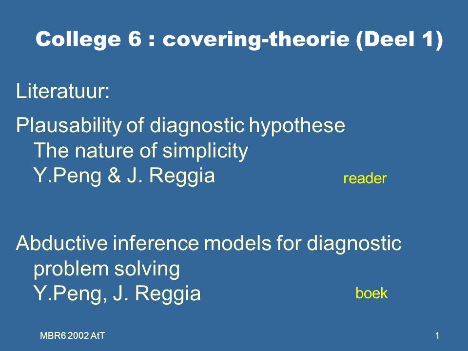MBR6 2002 AtT22 Eigenschappen D 1  causes(M 1 ) =  IFF M 1  effects(D 1 ) =  Als D k een cover is voor M j dan is er een D i  D k waarbij D i een irredundante cover is van M j Voor iedere diagnostisch problem M + bestaat minimaal een oplossing Een cover D I voor M J is irredundant IFF voor alle d i  D I bestaat een m j  M J die uniek gecovered wordt door d i Dus: m j  effects(d i ) maar m j  effects(D I - d i )