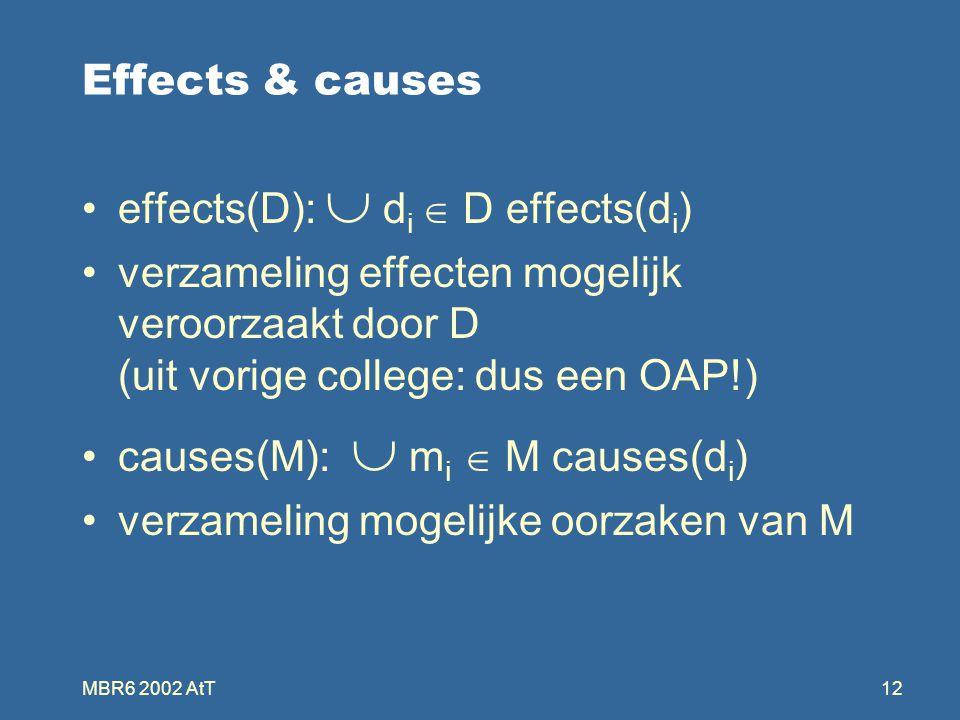 MBR6 2002 AtT12 Effects & causes effects(D):  d i  D effects(d i ) verzameling effecten mogelijk veroorzaakt door D (uit vorige college: dus een OAP!) causes(M):  m i  M causes(d i ) verzameling mogelijke oorzaken van M