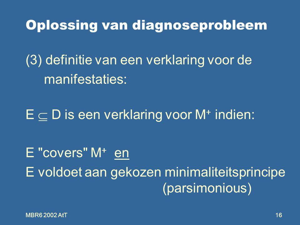 MBR6 2002 AtT16 Oplossing van diagnoseprobleem (3) definitie van een verklaring voor de manifestaties: E  D is een verklaring voor M + indien: E covers M + en E voldoet aan gekozen minimaliteitsprincipe (parsimonious)