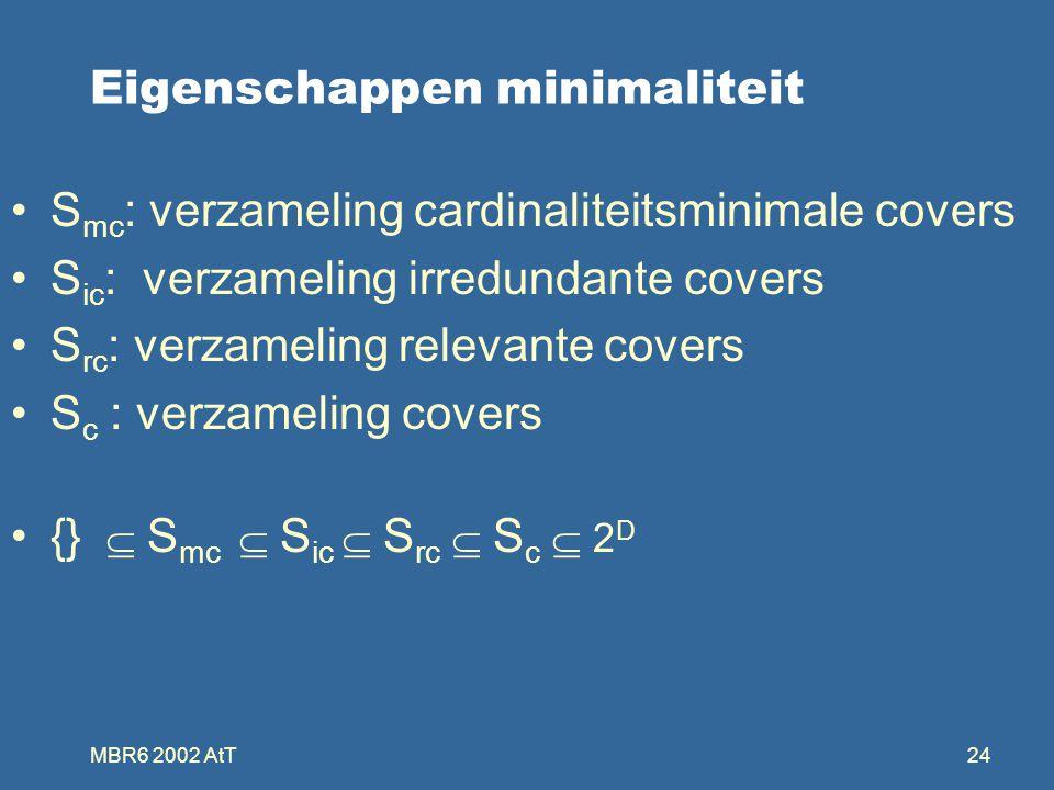 MBR6 2002 AtT24 Eigenschappen minimaliteit S mc : verzameling cardinaliteitsminimale covers S ic : verzameling irredundante covers S rc : verzameling relevante covers S c : verzameling covers {}  S mc  S ic  S rc  S c  2 D