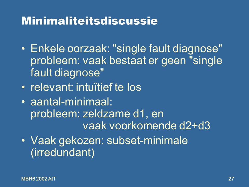 MBR6 2002 AtT27 Minimaliteitsdiscussie Enkele oorzaak: single fault diagnose probleem: vaak bestaat er geen single fault diagnose relevant: intuïtief te los aantal-minimaal: probleem: zeldzame d1, en vaak voorkomende d2+d3 Vaak gekozen: subset-minimale (irredundant)