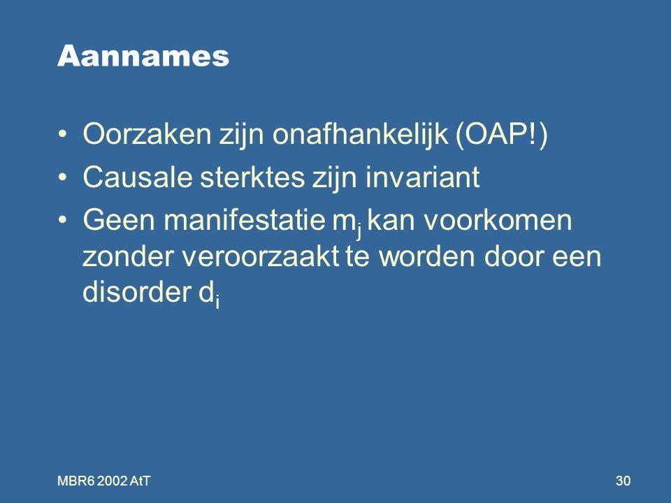 MBR6 2002 AtT30 Aannames Oorzaken zijn onafhankelijk (OAP!) Causale sterktes zijn invariant Geen manifestatie m j kan voorkomen zonder veroorzaakt te worden door een disorder d i