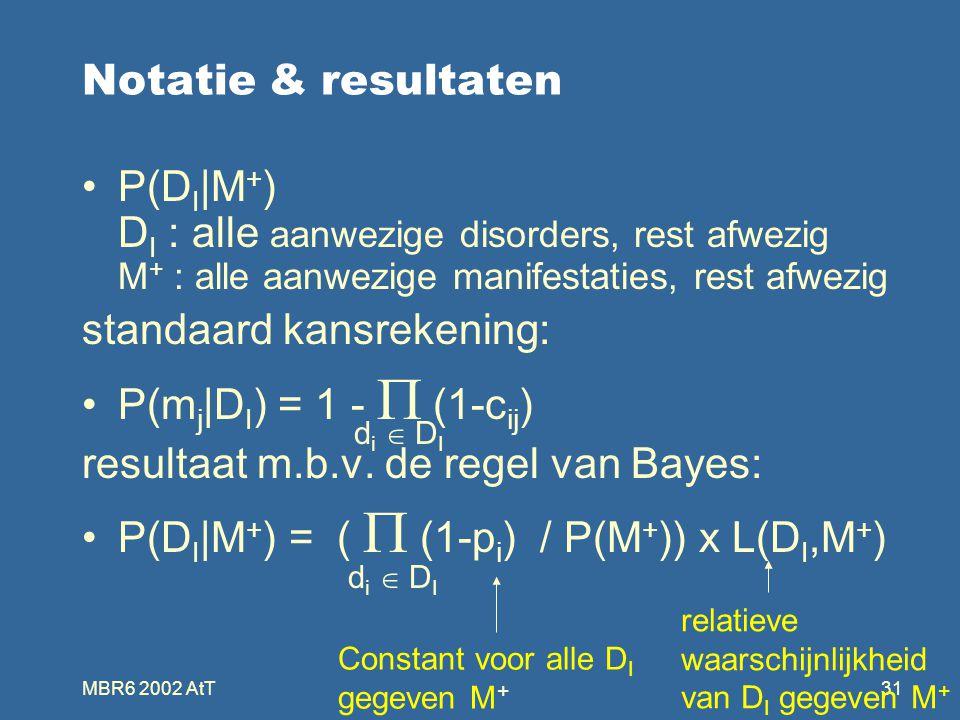 MBR6 2002 AtT31 Notatie & resultaten P(D I |M + ) D I : alle aanwezige disorders, rest afwezig M + : alle aanwezige manifestaties, rest afwezig standaard kansrekening: P(m j |D I ) = 1 -  (1-c ij ) resultaat m.b.v.