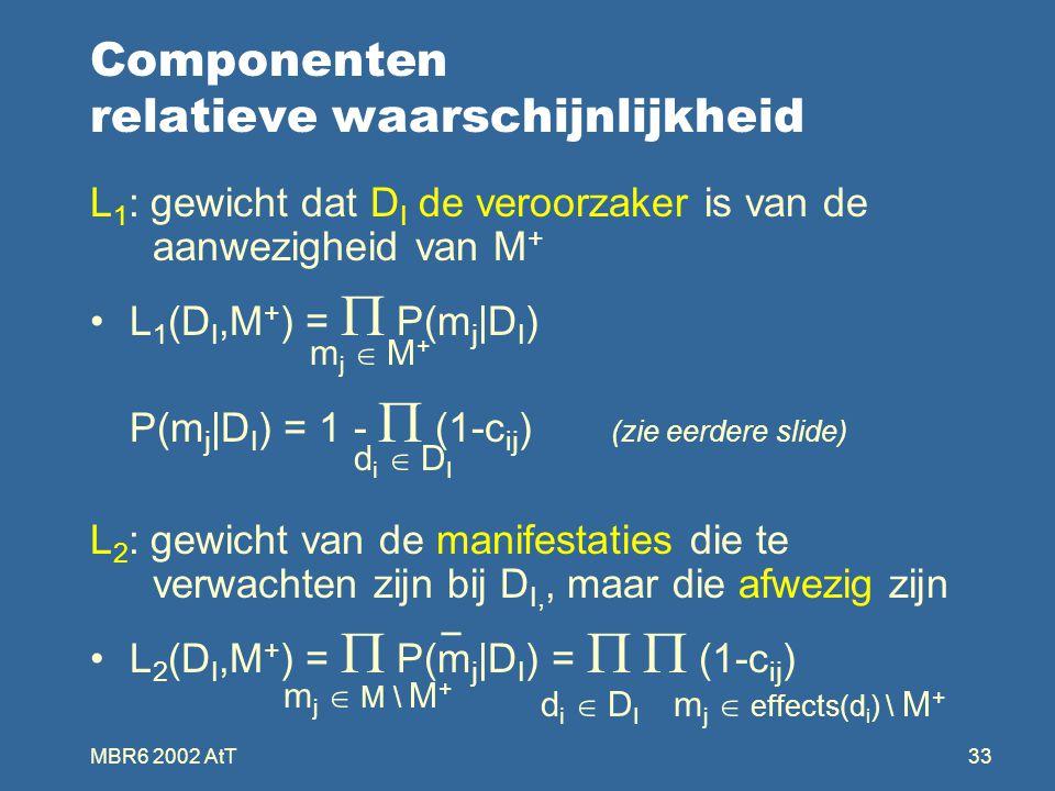 MBR6 2002 AtT33 Componenten relatieve waarschijnlijkheid L 1 : gewicht dat D I de veroorzaker is van de aanwezigheid van M + L 1 (D I,M + ) =  P(m j |D I ) P(m j |D I ) = 1 -  (1-c ij ) (zie eerdere slide) L 2 : gewicht van de manifestaties die te verwachten zijn bij D I,, maar die afwezig zijn L 2 (D I,M + ) =  P(m j |D I ) =   (1-c ij ) mj  M+mj  M+ di  DIdi  DI _ m j  M \ M + di  DIdi  DI m j  effects(d i ) \ M +