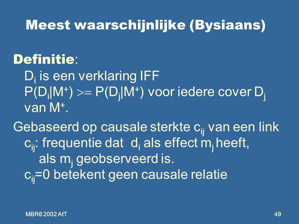 MBR6 2002 AtT49 Meest waarschijnlijke (Bysiaans) Definitie : D i is een verklaring IFF P(D i |M + )  P(D j |M + ) voor iedere cover D j van M +.