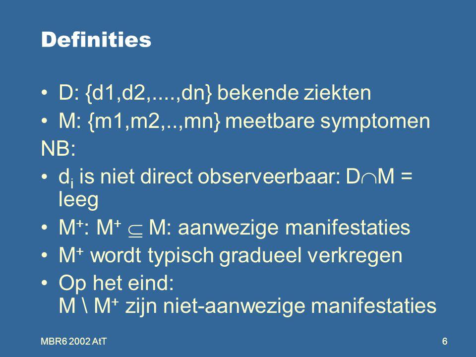 MBR6 2002 AtT6 Definities D: {d1,d2,....,dn} bekende ziekten M: {m1,m2,..,mn} meetbare symptomen NB: d i is niet direct observeerbaar: D  M = leeg M + : M +  M: aanwezige manifestaties M + wordt typisch gradueel verkregen Op het eind: M \ M + zijn niet-aanwezige manifestaties