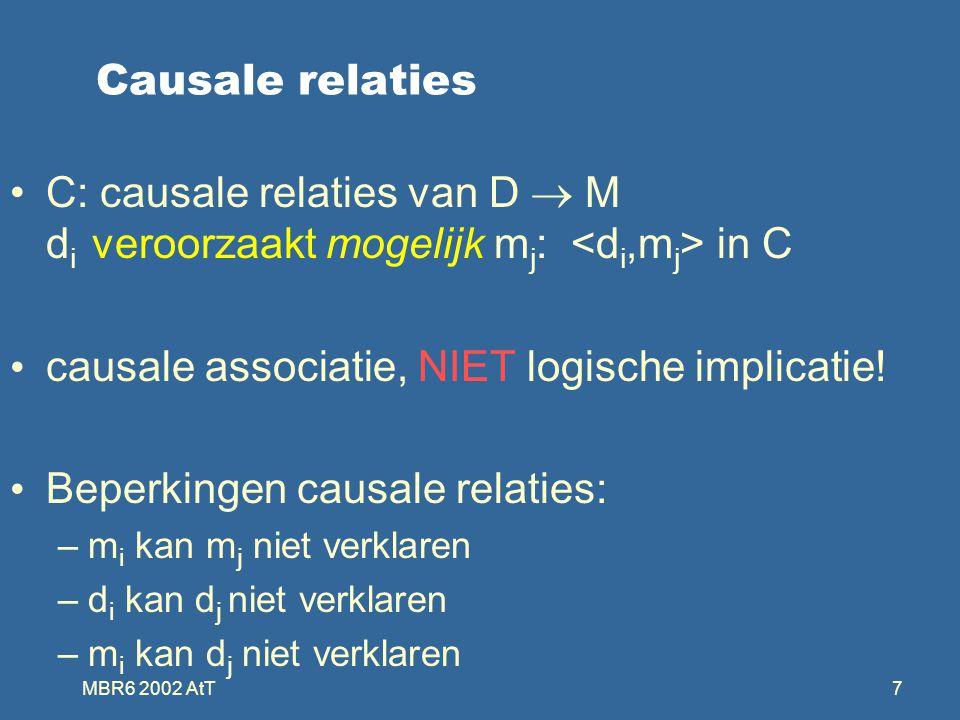 MBR6 2002 AtT7 Causale relaties C: causale relaties van D  M d i veroorzaakt mogelijk m j : in C causale associatie, NIET logische implicatie.