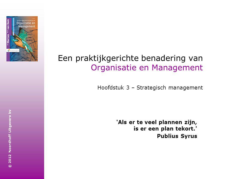© 2012 Noordhoff Uitgevers bv Een praktijkgerichte benadering van Organisatie en Management Hoofdstuk 3 – Strategisch management 'Als er te veel plann