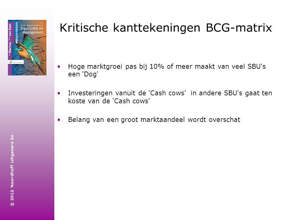 © 2012 Noordhoff Uitgevers bv Kritische kanttekeningen BCG-matrix Hoge marktgroei pas bij 10% of meer maakt van veel SBU's een 'Dog' Investeringen van
